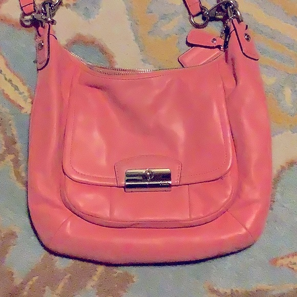 Pink leather coach purse